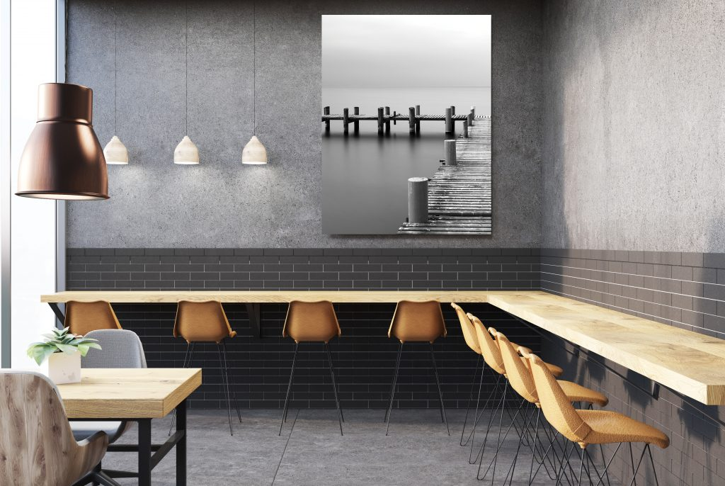 Factory building gray cafe interior, poster