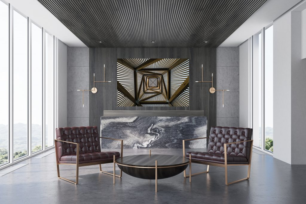 Gray and marble office, reception, armchairs