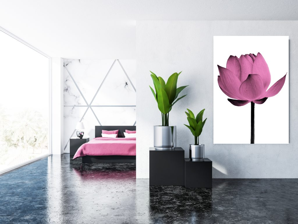 White and mable bedroom interior, double bed