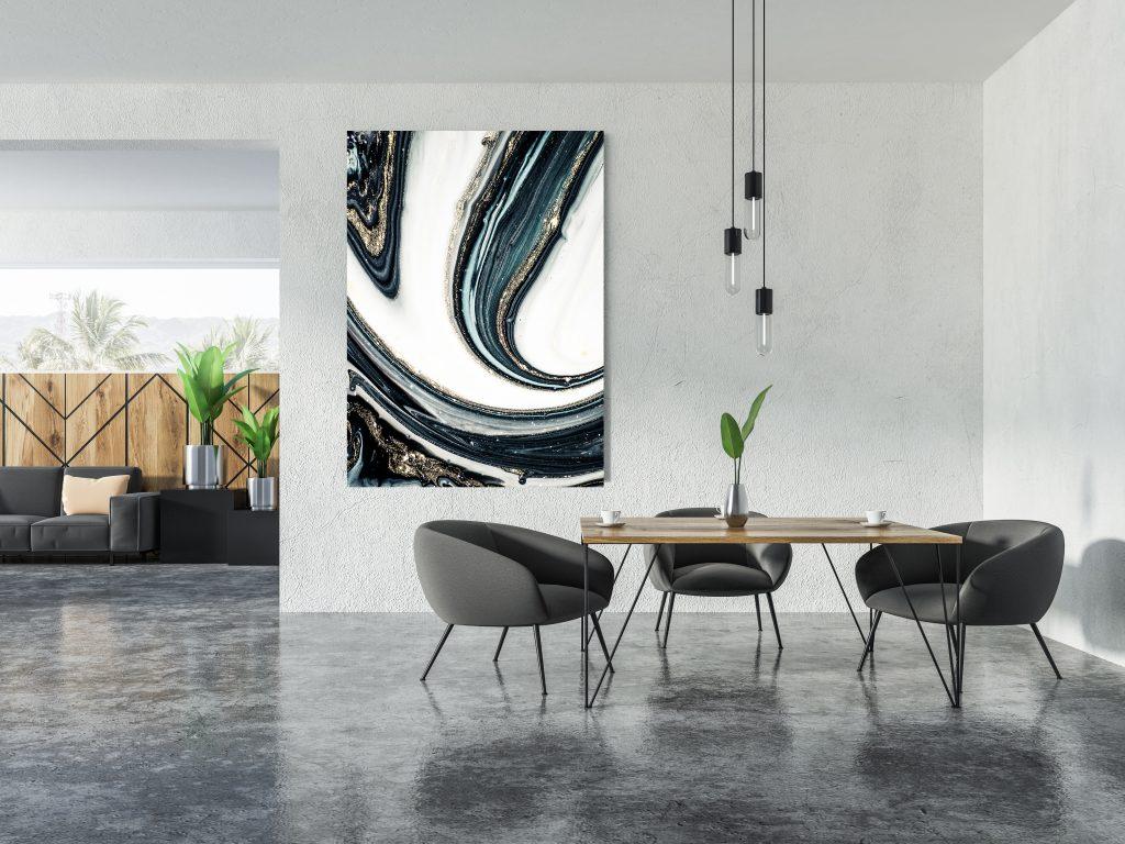 Panoramic studio flat dining room interior, poster
