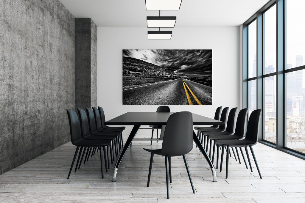 Contemporary conference room with empty poster