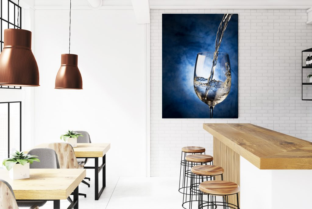 White and brick bar interior poster