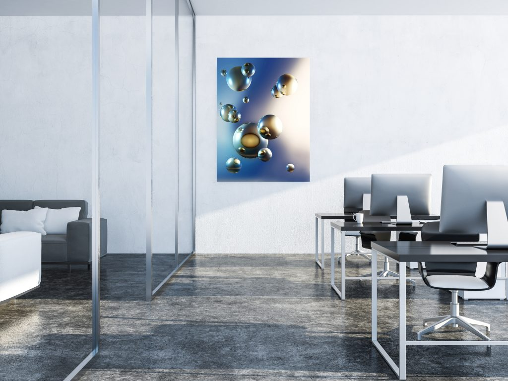 White open space office, sofa lounge and poster